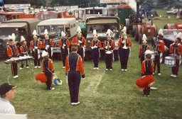 The Band of The Royal Husars plays in front of the procession formed up in the Treacle Fair Arena