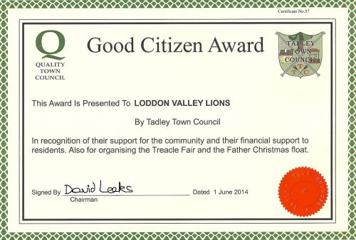 Good Citizen Award from Tadley Town Council June 2014