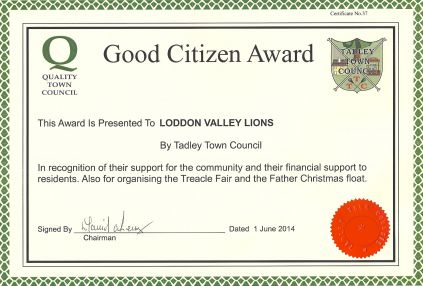 Loddon Valley Lions Good Citizen Award from Tadley Town Council