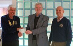LVLC President and Secretary presenting Cheque to Sebastians Action Trust